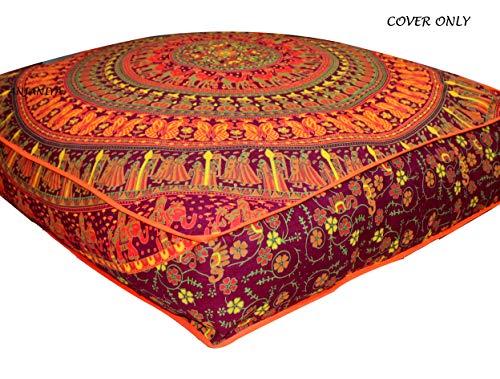 Yoga méditation carré large Lit pour chien Extérieur Sol Taie d'oreiller Canapé Coussin d'assise Couvre-lit décoratif hippie boho indien Ottoman, Coton, Orange Maroo