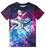 6-8 Years Old Child Tees Kids Boys Girls Rainbow Shark T-Shirt Original Galaxy Captain Cat Tee Novelty Unisex Primary School Students Funny Tops Undershirt for Beach Seaside Show Exhibition