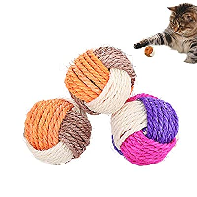SUNTRADE 3Pcs Cat Toy Sisal Ball Pet Scratching Ball Chew Eco-Friendly Toy Pets Interactive Toy Bite and Wear Resistant(Random Color)