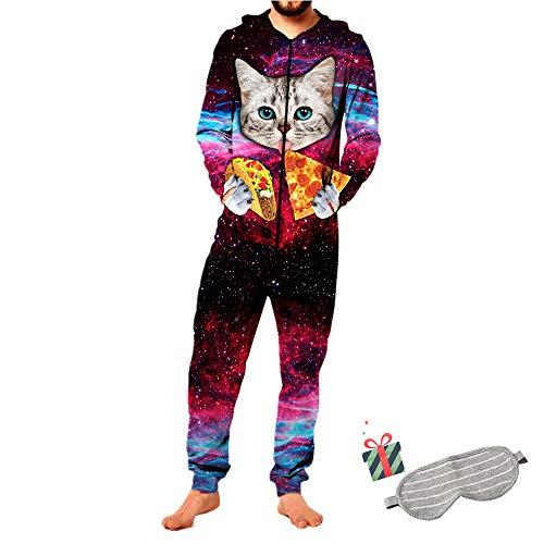 Morbuy Sudadera con Capucha de Hombre, Unisexo Mujer Trabajo Jumpsuit Pijama en Una Sola Pieza Manga Larga Impresión 3D Cierre de Cremallera Playsuit Adulto (L, Pizza Gato)