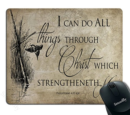 Smooffly Gaming Mouse Pad Custom Bible Verse Christian Jesus,I can do All Things Through Christ which strengtheneth me,Philippians 4 13