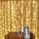 Cortina de luces, luz blanca cálida, 300 LEDs 8 Modos Luz Cadena Resistente al Agua, iluminación navideña con mando a distancia para decoración de fiestas, bodas, habitaciones en directo
