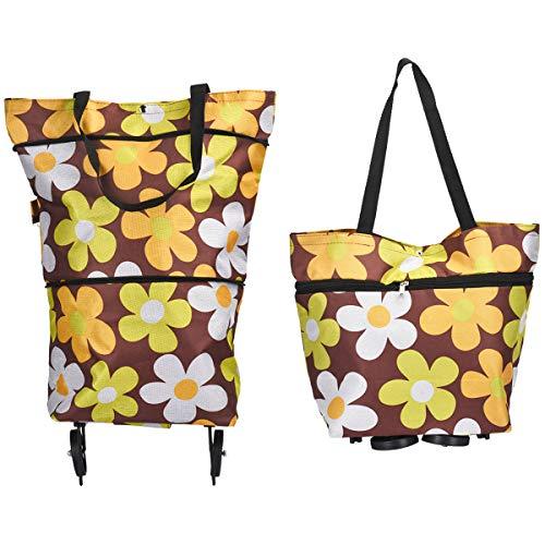 Adoraland Einkaufstasche mit Rollen Einkaufstrolleys Faltbar auf Raedern Leicht Groß 30 x 27 x 16 Zentimeter Mehrfarben