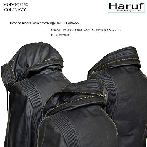 レザージャケット革ジャンメンズ本革フード付きライダースジャケットシングルブラックネイビー黒紺HarufハルフTQPUSA132