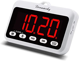DreamSky Portable Digital Kitchen Timer with Large Red Number Display, Count Up/Down Timer with ON/OFF Button, Magnetic Back Foldout Stand, Battery Operated Timers for Cooking Baking Yoga.