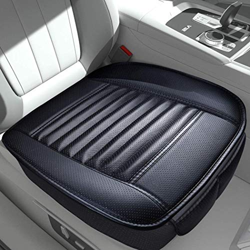 Sunny color 2pc Filling Bamboo Charcoal Edge Wrapping Car Front Seat Cushion Cover Pad for Auto with PU Leather(Black)