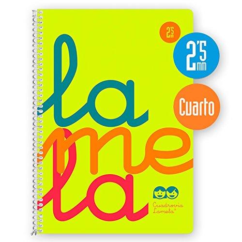 Cuaderno Espiral LAMELA Fluor, 4º 80 Hojas Cuadro 2,5 mm. Tapa Plástico (Amarillo)