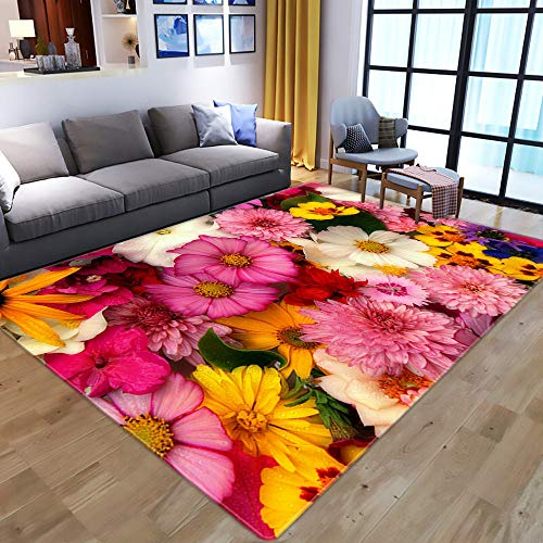Teppich Wohnzimmer,Non Slip Area Rug For Living Dining Room,Modern 3D Printed,Yellow Sunflowers And Roses,Soft Cozy Carpet For Bedroom Kitchen,Topical Broken Flower Nursery Rug Floor Carpet Yoga Mat,9
