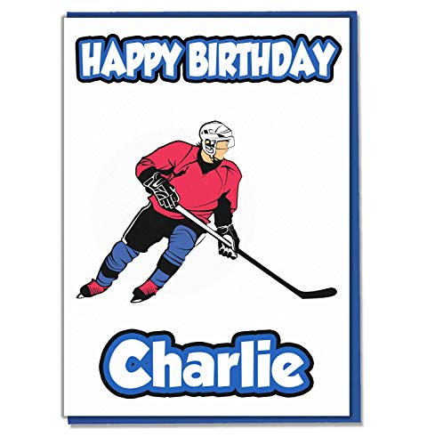 AK Giftshop Personalisierbare Eishockey-Geburtstagskarte – beliebiger Name, Alter und Verwandte
