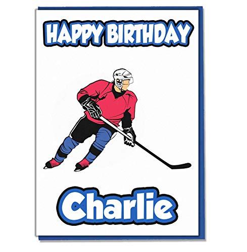 AK Giftshop Geburtstagskarte mit Eishockey-Motiv, personalisierbar