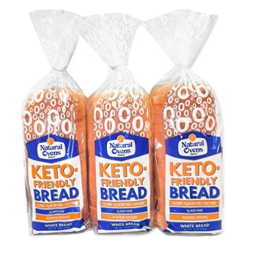 Natural Ovens Bakery Keto-Friendly White Bread 3 Loaves - Zero Net Carbs, 40 Calories a Slice