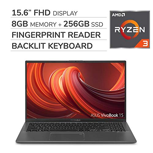 ASUS VivoBook 2019 Premium 15.6'' FHD Laptop Notebook Computer, 4-Core AMD Ryzen 3 3200U 2.6GHz, 8GB RAM, 256GB SSD, No DVD, Backlit Keyboard, Wi-Fi, Bluetooth, Webcam, HDMI, Windows 10 Home S