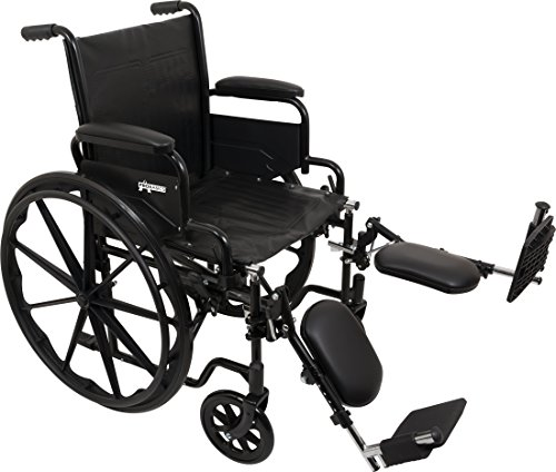 "ProBasics Standard Wheelchair - Flip Back Desk Arms - 250 Pound Weight Capacity - Black - Elevating Leg Rest - 20"" x 16"" Seat"