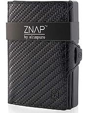 ZNAP Portafoglio porta carte di credito - in Alluminio - Protezione RFID - Pelle Carbonio - fino a 12 carte - portafoglio uomo slim, portacarte uomo, portacarte di credito da uomo - Clip di SLIMPURO