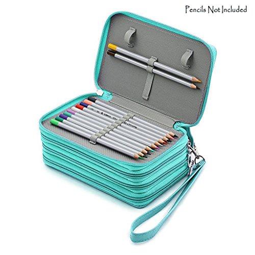 NIUTOP Astuccio con cerniere, grande capacità, per 72 matite colorate/da trucco, in pelle PU, verde