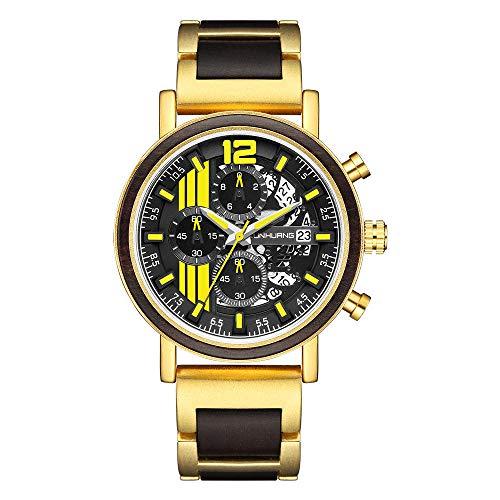 SANDA Reloj Hombre,2021 Reloj Deportivo para Hombre Vendedor Caliente Reloj de Cuarzo de Moda de Madera metálica-Oro