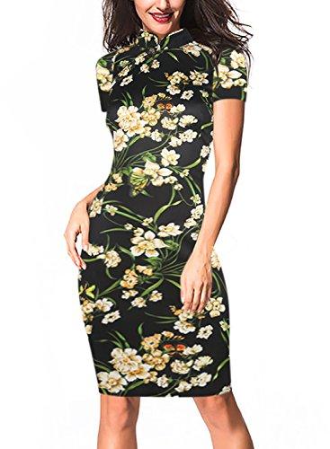 Oxiuly Women's Retro Print Stretch Short Sleeve Stand Collar Sheath Dress OX183