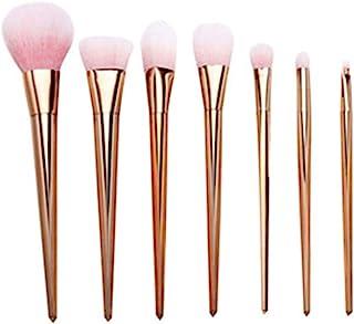 プロ メイクブラシ 化粧筆 シリーズ 化粧ブラシセット 高級タクロン 超柔らかい 可愛い リップブラシツール 7本セット (Color : Rose Gold)