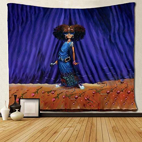 WAXB Tapiz Afro Girls Afro Singer Tapices Arte Personalizado Único Cortina, Mantel, Dormitorio, Habitación, Decoración del Hogar, Regalo, 51 X 59 Pulgadas