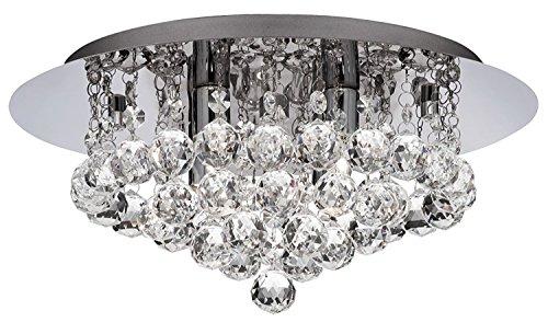 Searchlight 3404-4CC plafondlamp, 4 lampen, kristal, 35 cm, met chromen achterplaat, 4 x 33 W, compatibel met LED-lampen