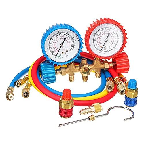 Detector de fugas de gas Conjunto de calibre de aire acondicionado conjunto de diagnóstico de prueba ligero for R134A R12 R22 R502 Herramientas de reparación portátil de refrigerante Detector de fugas