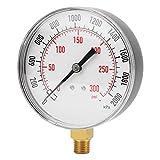 0-300 psi - Manómetro analógico versátil para agua Air Air Dial Instrument Base de entrada 1/4' NPT montaje inferior