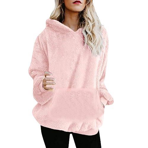 e28f3837d4f5 iDWZA Women Pure Winter Warm Wool Pockets Hooded Heat Sweatshirt Outwear  Hoodie
