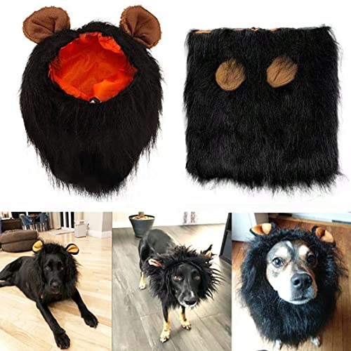 Lions Mane for Large Dog Halloween Costumes, Pet Black Wig with Ears