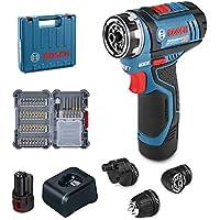 Bosch Professional GSR 12V-15 FC Atornillador, 1 batería x 2,0 Ah, 15/30 NM, FlexiClick, Set de 40 Accesorios, en maletín, Edición Amazon, 12 V, Multicolor