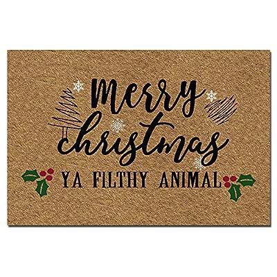 """Doormat Funny Front Door Mat- Merry Christmas Ya Filthy Animal Christmas Doormat Rubber Non Slip Backing Funny Doormat for Outdoor/Indoor Uses 23.6""""(W) X 15.7""""(L) Brown"""