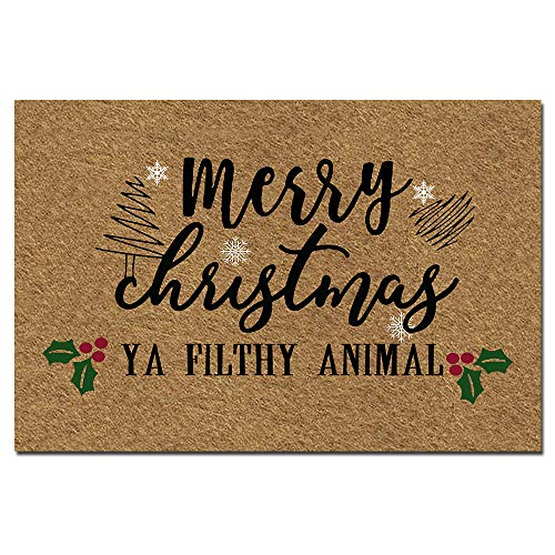 "Doormat Funny Front Door Mat- Merry Christmas Ya Filthy Animal Christmas Doormat Rubber Non Slip Backing Funny Doormat for Outdoor/Indoor Uses 23.6""(W) X 15.7""(L) Brown"
