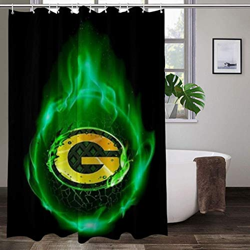 LAYENJOY Green Bay P-a-c-k-ers (12) Football Waterproof Curtain Bathroom Partition Shower Curtain Hooks Suitable for Shower Room Bedroom Bathtub(60x72 in)
