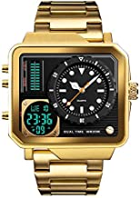 Men's Square Large Face Stainless Steel Digital Sports Watch, LED Analog Quartz Wrist Watch with Multi-Time Zone Waterproof Stopwatch (Gold)