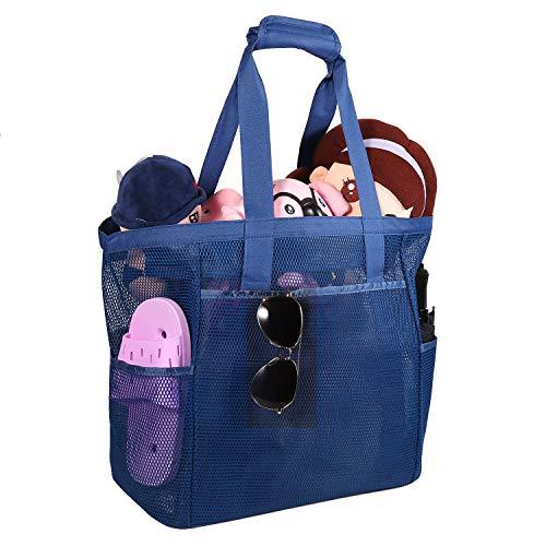 ROSA&ROSE Bolsa de Malla de Playa, Bolsas Compra Reutilizables para Natación, Camping, Vacaciones Familiares, los Juguetes y de la Ropa (Gris)