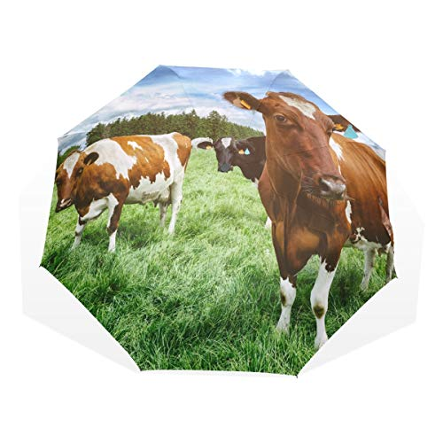 XiangHeFu Umbrella Cows Nature Landscape Green Field Farm 3 Folds Lightweight Anti-UV