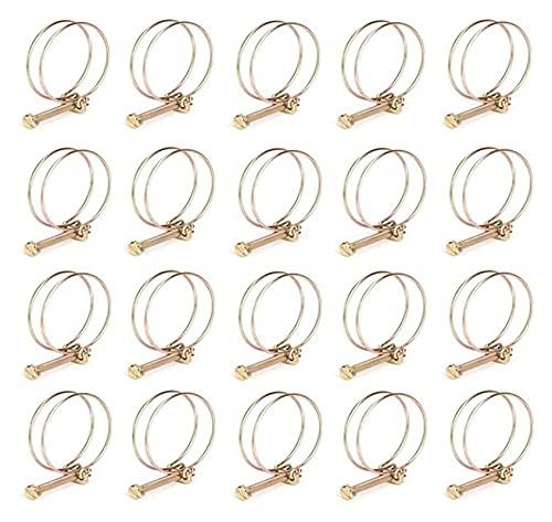 20 piezas 21-25mm clips de tubo aro de manguera ajustable sujetador de fontanería abrazadera de púa para manguera de agua pinzas de manguera de acero galvanizado
