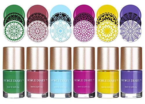 NICOLE DIARY Stamping Nail piastra 6Pcs Nail Polish polish stampatrice del polacco vernice per nail art stampa (NS05, NS07-NS09, NS11-NS12)
