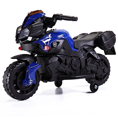 TOBBI 6V Kids Ride On Motorcycle Car Battery Powered 4 Wheel Bicycle Electric Toy, Blue Pattern Style