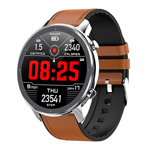 jpantech Smartwatch,Fitness Watch Uhr Voller Touch Screen Fitness Uhr IP68 Wasserdicht Fitness Tracker Sportuhr mit Schrittzähler Pulsuhren Stoppuhr für Damen Herren Smart Watch Android Handy(Silber)