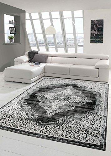 Designer und Moderner Teppich Orientteppich Wohnzimmerteppich in Grau Schwarz Größe 160x230 cm
