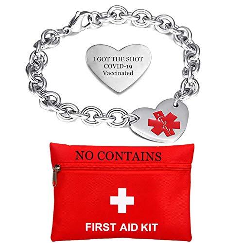 Edelstahl COVID-19 Geimpft Armband für Frauen,Herzform Medizinischer Alarm Impfung Injection Awareness Armbänder,Personalised Maßgeschneiderte Med Schmuck