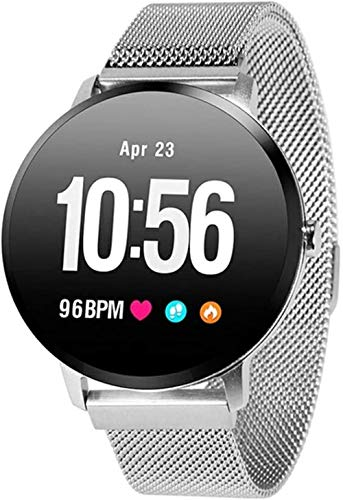 Reloj inteligente de 1 3 pulgadas de pantalla de seguimiento de fitness deportivo podómetro pulsera de marcado personalizado Mensaje Push Smart Recordatorio IP67 impermeable 110mAh-plata/acero