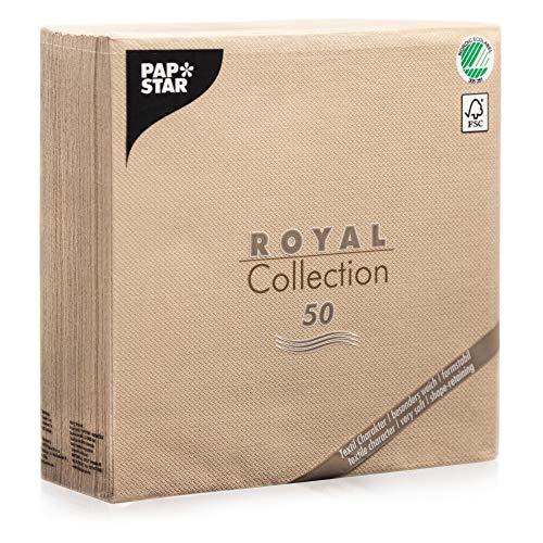 50 Stoffähliche Stoffoptisch Hochwertige Servietten ROYAL-Collection 1/4-Falz 40x40 cm in Sand Creme