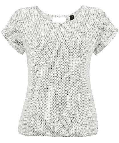 TrendiMax Damen T-Shirt Kurzarm Sommer Shirt mit Allover-Minimal Print Causal Oberteil Bluse Tops (Weiß, L)