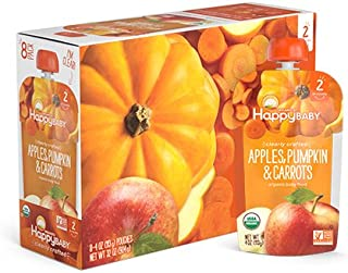Happy Baby Organic Clearly Crafted Stage 2 Baby Food Apples, Pumpkin & Carrots, 4 Ounce Pouch (Pack of 16)