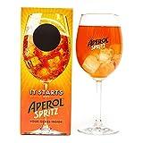 Con Marca Edición Limitada Aperol Spritz con Caña Coctel Glass 51cl Completo con Caja de Presentación