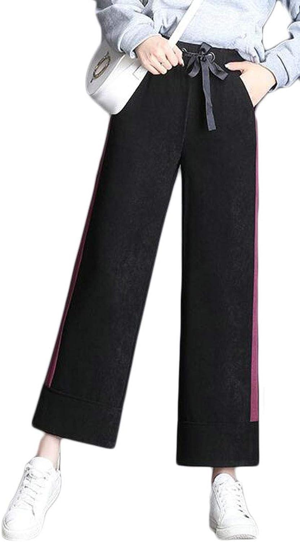 Hajotrawa Women's Corduroy Cuff Elastic Waist Wide Leg Loose Fit Ankle Length Pants