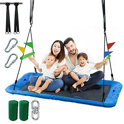 SURPCOS 60'' Giant Platform Tree Swing with Safe Handles, Waterproof Platform Swing 700 lb Weight...