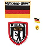 A-ONE 3 Stück – Berlin-Schild-Aufnäher + Deutschland-Flagge + Deutschland-Flaggen-Abzeichen, bunte Nadelflicken mühelosan Taschen & Hosen zu befestigen.