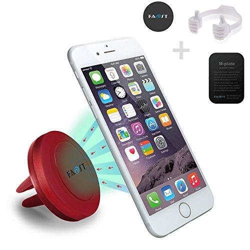 Car Mount Pack,3 in 1 Air Vent Smartphone Car Mount w/ Magnetic 1 Step Mounting Technology Compatible with all Phones,thumb up Stand for Cell Phones,iPad,tablet,Kindle holder (Red)